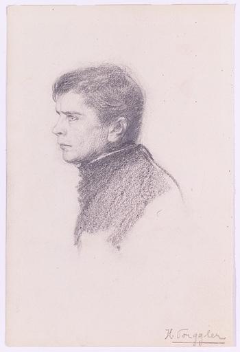 """Hermann TORGGLER - Disegno Acquarello - """"Male Portrait"""", ca.1900"""
