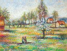 Paul Émile PISSARRO - Drawing-Watercolor - Le Deux Amis de Conversation