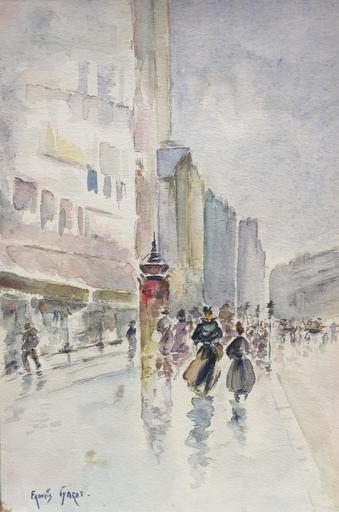 Francis GARAT - Dibujo Acuarela - Élégantes à Paris