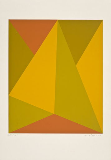 Guido MOLINARI - Estampe-Multiple - Triangulaire jaune-orange 1974