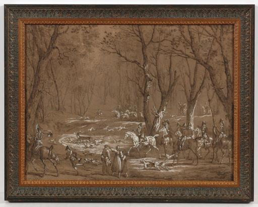 """Carle VERNET - Dessin-Aquarelle - """"Chasses du Duc de Berry á Meudon, 29th March 1819"""""""