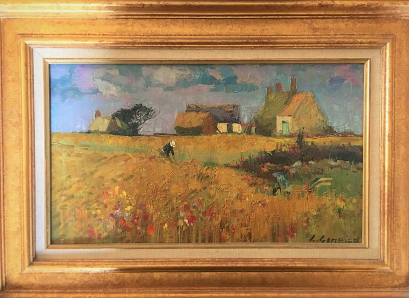 Léon GAMBIER - Peinture - CHAMP DE BLE VERS PENMARCH