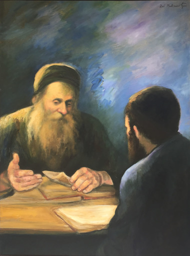 Zvi MALNOVITZER - Painting - Rabbi Alter and a Student Studying Kabbalah
