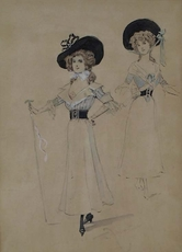 """Theodor ZASCHE - Drawing-Watercolor - """"Two Models"""" by Theodor Zasche (1862-1922), ca 1900"""
