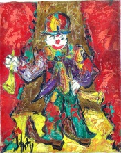 Henry Maurice D'ANTY - Pintura - Clown with 2 Clarinets