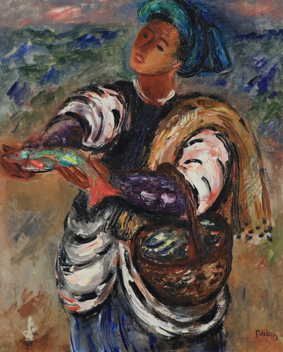 Reuven RUBIN - Painting - Fisherman