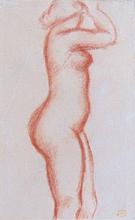 阿里斯蒂德•马约尔 - 水彩作品 - Standing Nude | Nude with raised Arms