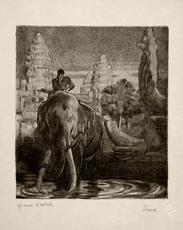 Paul JOUVE - Grabado - Eléphant devant le temple d'Angkor-Vat