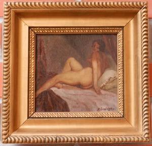 Antonín PROCHAZKA - Painting - Sitting woman's act on a sofa