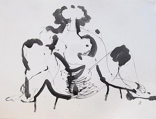 Karl KLUTH - Dibujo Acuarela - Sitzende - Frauenakt.