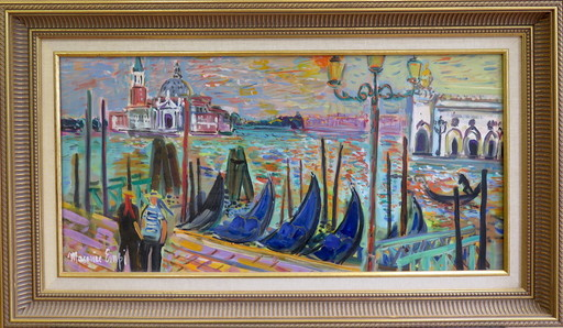 Maurice EMPI - Painting - Les 2 gondoliers