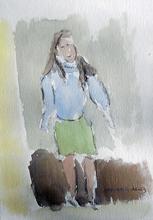 Jean-Pierre CHEVASSUS-AGNES - Drawing-Watercolor - jeune fille à Grenoble
