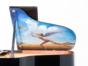 """Salvador DALI - Pintura - """"Untitled"""" (Known as the Piano of Mozart)"""