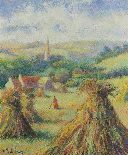 Hugues Claude PISSARRO - Gemälde - Moisson à Saint-Omer