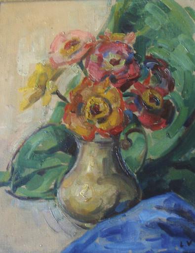 Louis VALTAT - Pittura - VASE D ANEMONES CIRCA 1910