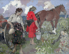 Alessio ISSUPOFF - Painting -  Peasants in the Italian Countryside