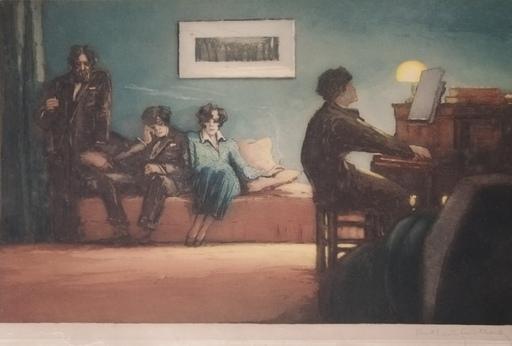 Paul Louis GUILBERT - 版画 - La leçon de piano