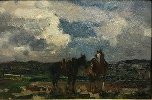 Beppe CIARDI - Peinture - I due cavalli