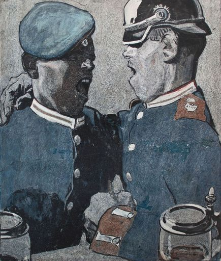 Eduard THÖNY - Drawing-Watercolor - Soldatenlied