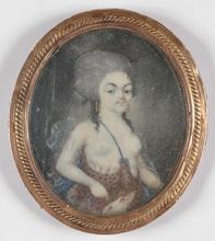 "Augustin DUBOURG - Miniature - Augustin Dubourg (1758-1800) - Circle, ""Lady as Diana"""