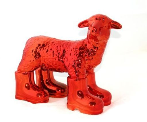 William SWEETLOVE - Sculpture-Volume - Cloned RED porcelain lamb