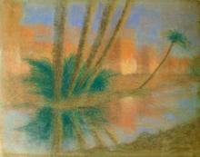 Lucien LÉVY-DHURMER - Dibujo Acuarela - Reflets devant les remparts de Marrakech