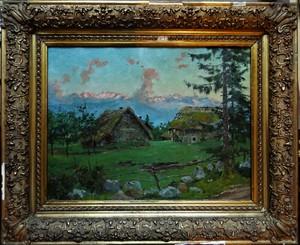 Édouard BRUN - Painting - Soir rose sur la chaine de Belledonne