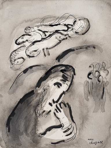 Marc CHAGALL - Drawing-Watercolor - Annonce d'Élie
