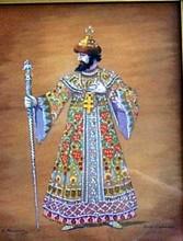 Konstantin A. KOROVIN - Dibujo Acuarela - Boris Godunov. Costume for F. Chaliapin.