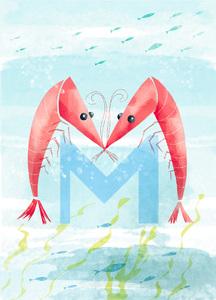 Rocío DEL MORAL - Estampe-Multiple - Animal Alphabet - The letter M    (Cat N° 6186)