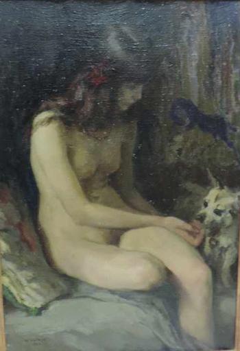 Paul Friedr. Wilhelm BALMER - Pintura -  sitzender Mädchenakt mit Hund, Girl nude