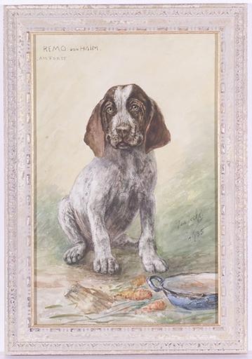 "Isa JECHL - Dibujo Acuarela - ""Portrait of a Dog"", 1935, Watercolor"