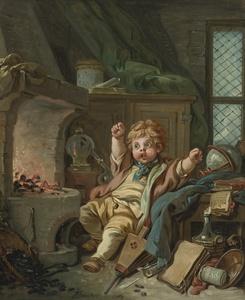 François BOUCHER - Painting - Le petit alchimiste ou Allégorie de la Chimie