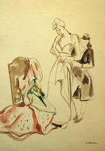 Yves BRAYER - Drawing-Watercolor - Ankleide / Dressing