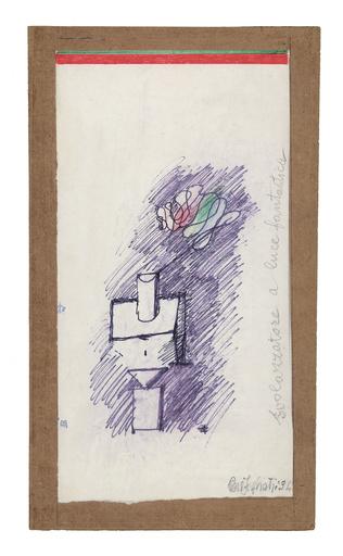 Piero FOGLIATI - Zeichnung Aquarell - Svolazzatore a luce fantastica