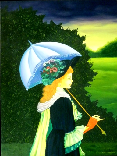 Meir PICHHADZE - Painting - Girl with Umbrella in the landscape