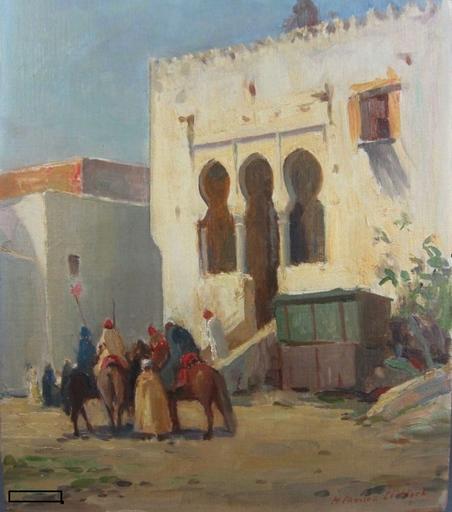 Henry Charles CLIFFORD - Pintura - Orientalist,Reitergruppe vor orientalischem Plast