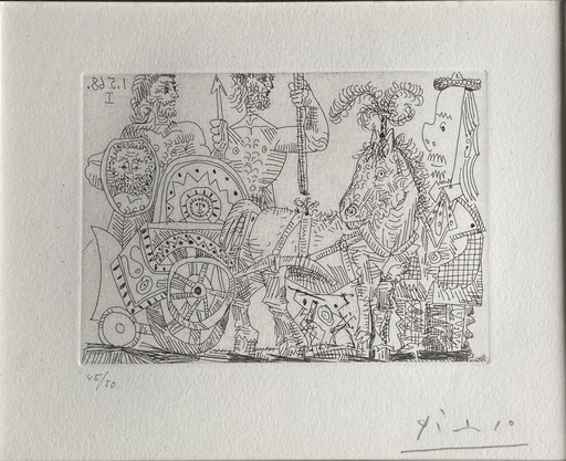 巴勃罗•毕加索 - 版画 - Circus: Chariot and clown
