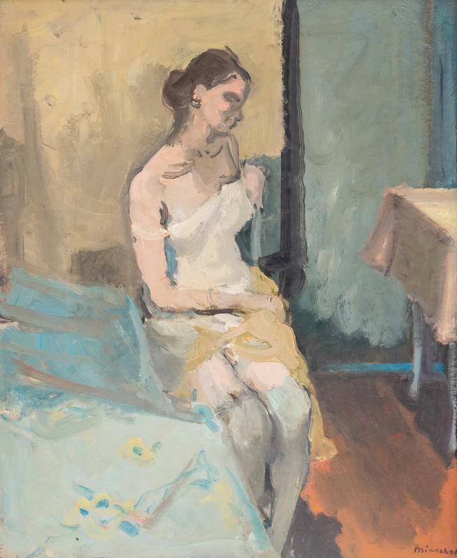 Maurice BRIANCHON - Pittura - Jeanine assise sur un lit
