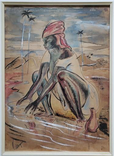Carlos ENRIQUEZ GOMEZ - Dibujo Acuarela - Lavandera Haitiana