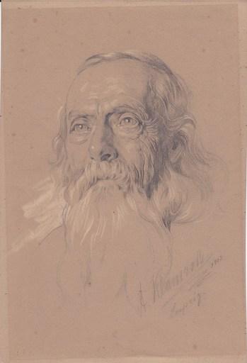 Anton KLAMROTH - Dibujo Acuarela - Tête de vieillard