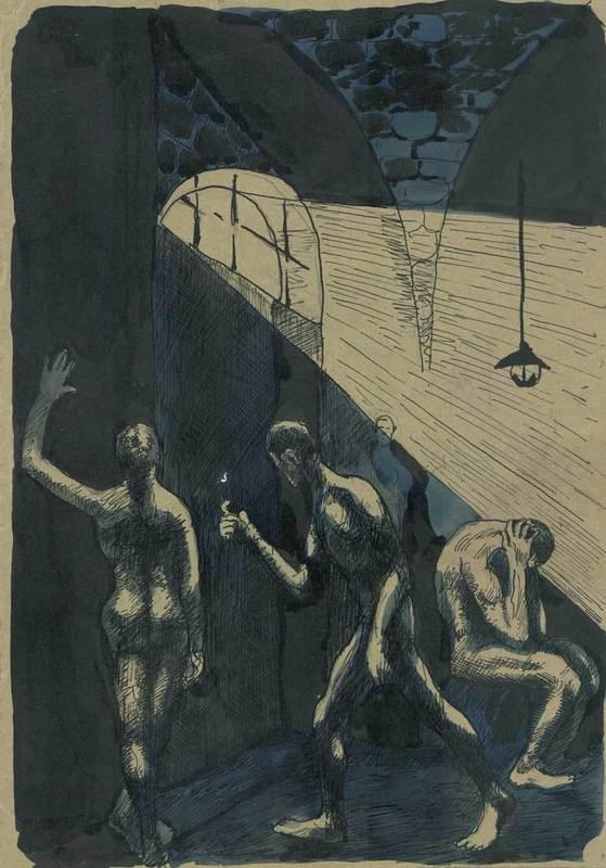 Ernst THOMS - Drawing-Watercolor - Ohne Titel (Gefangen)