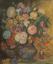 Sergei Yur'evich SUDEIKIN - Painting - Still Life of a Vase of Flowers with Porcelain Figurines