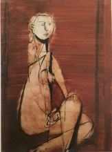 Jankel ADLER - Painting - Seated Nude