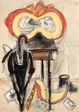 """Jean HÉLION - Drawing-Watercolor - """"Nature morte à la citrouille"""" étude"""