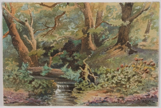 "Marie ERTL - Dessin-Aquarelle - ""Forest Study"", Watercolor, late 19th century"