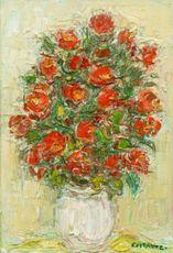 André COTTAVOZ - Painting - Bouquet rouge au pot blanc