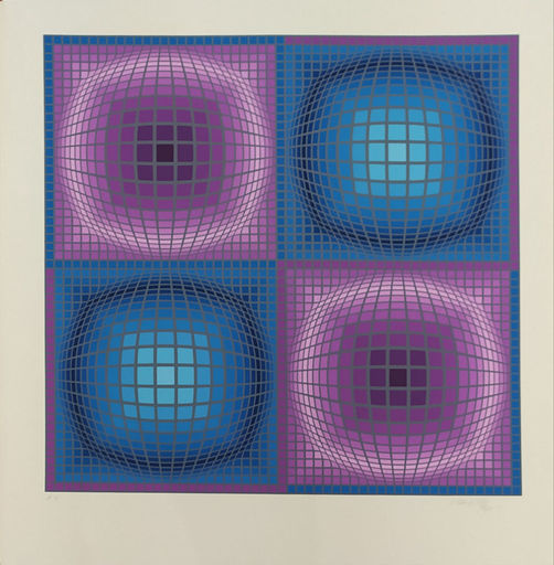Victor VASARELY - Druckgrafik-Multiple - Composition in Purple and Blue