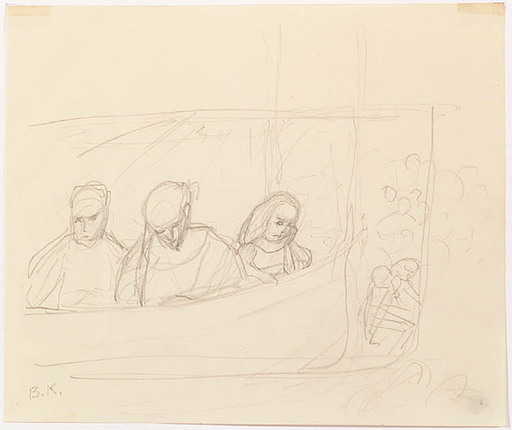 """Broncia KOLLER-PINELL - Drawing-Watercolor - """"In Theater Loge"""", 1910s"""