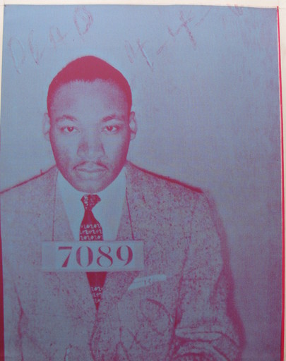 Russell YOUNG - Pintura - *Martin Luther King Dead,  Mug Shot 7089, Blue